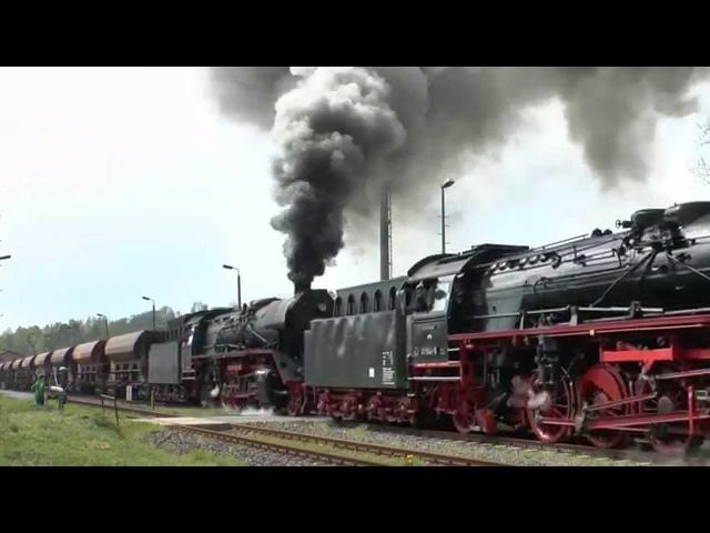 3 Dampfloks mit Güterzug, Ausfahrt Oberrohn