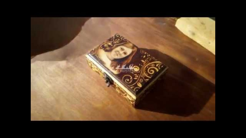 Шкатулка с пирографией/pyrography on a wooden box