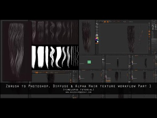 Part 1 - Diffuse & Alpha Hair Texture Workflow. Zbrush to Photoshop