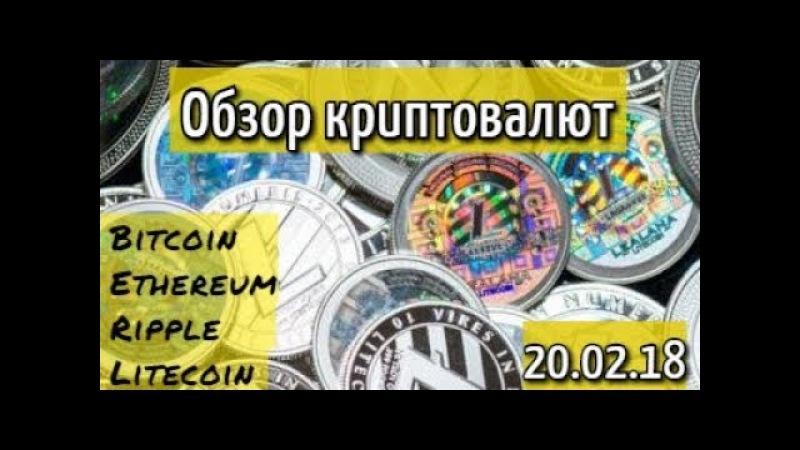 Обзор рынка криптовалют 20.02.18 Bitcoin, Ripple, Ethereum, Litecoin.