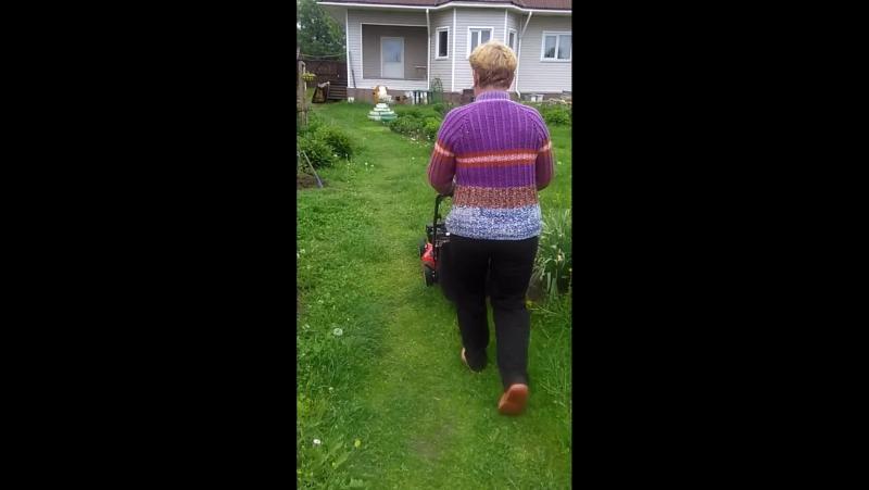 мамочка и новая газонокосилка.