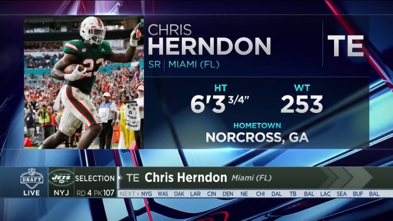 Jets Select TE Chris Herndon in the Fourth Round