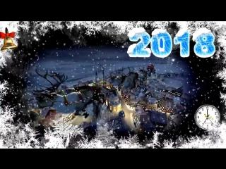Футаж Дед мороз летит на оленях