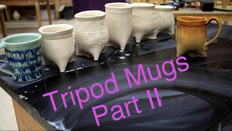 Frost porcelain Soft slab Tripod Mugs Pulling handles Part 2 Pottery 1