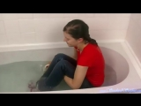 Sexy Hot Wet Girl Getting Wet in Red TShirt in Bathtub