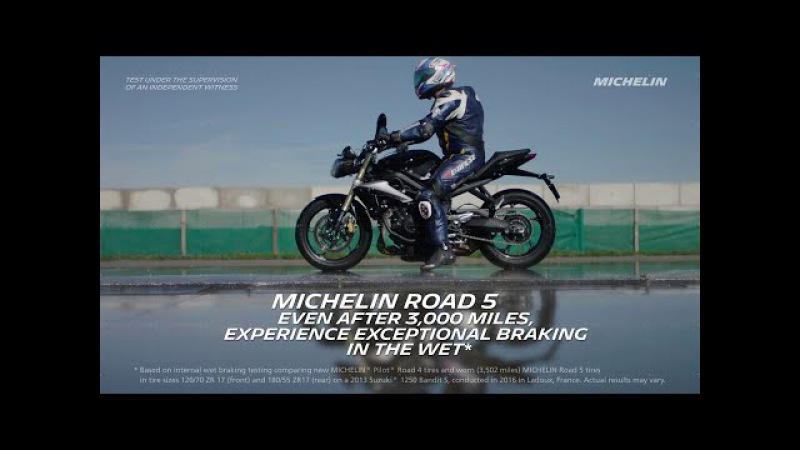 MICHELIN® Road 5 Tires: Experience exceptional wet braking even after 3,000 miles!
