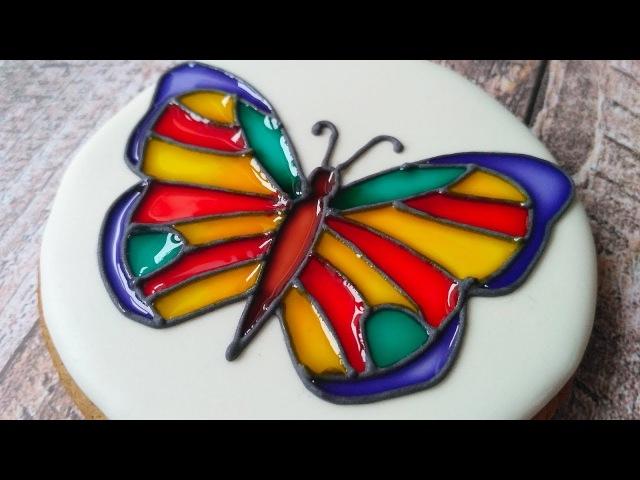 Витраж на Прянике. Имбирное Печенье в технике Витраж. Stained Glass Cookie