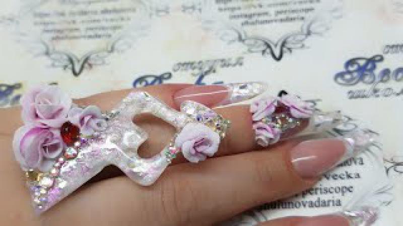 делаем кольцо из материалов для наращивания ногтей. объемная акриловая лепка. объемные розы
