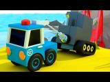 Мультфильмы: Остров Поездов - Полицейские машинки ловят воришку!