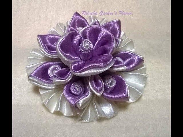 Kanzashi 120 - Como fazer Flor de Tecido Cetim - LINDA ! DIY. PAP - Flower / 簪