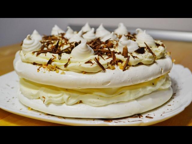 Торт Безе с Кремом Пломбир Швейцарская меренга Cake with Merenga and Cream Plombir
