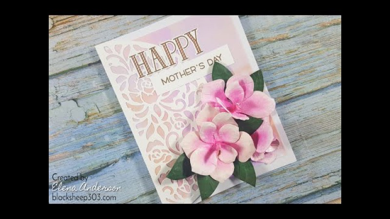 Pink Magnolia Mothers Day Card with Elizabeth Craft Designs and Distress Inks