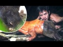 Primitive Technology Tracking trapping and processing wild boar in the forest Wilderness