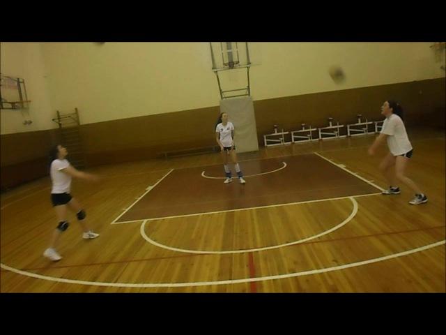 Волейбол. Упражнения в тройках и четвёрках. Часть 2