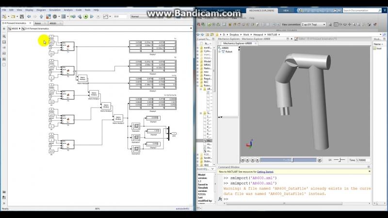 AR600E Hand Simmechanics vs DH transform forward Kinematics comparision