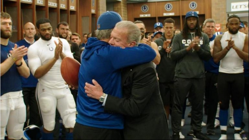 Chuck Pagano and Jim Irsay Post Game Victory Speech