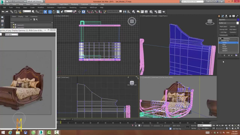 [Training 3ds max] 3dsmax-Bed Veneto model
