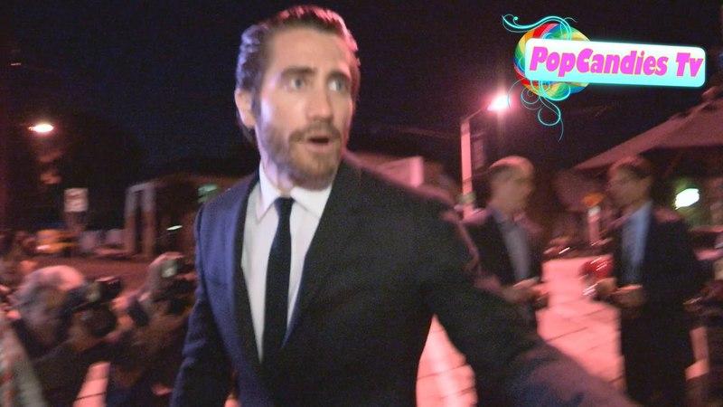 Jake Gyllenhaal greets fans while departing Craig's in LA