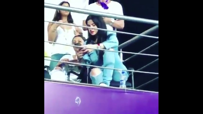 King Of Knights in KKR stand last night at Eden Gardens with Gauri Khan daught