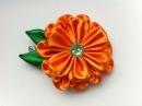 Украшение на заколку Канзаши Оранжевый цветок
