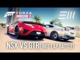 2017 Acura NSX vs 2017 Nissan GTR - HOT LAP BATTLE | Forza Horizon 3