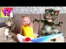 Лера и ГОВОРЯЩИЙ КОТ Том FUNNY BABY and talking CAT on the tablet