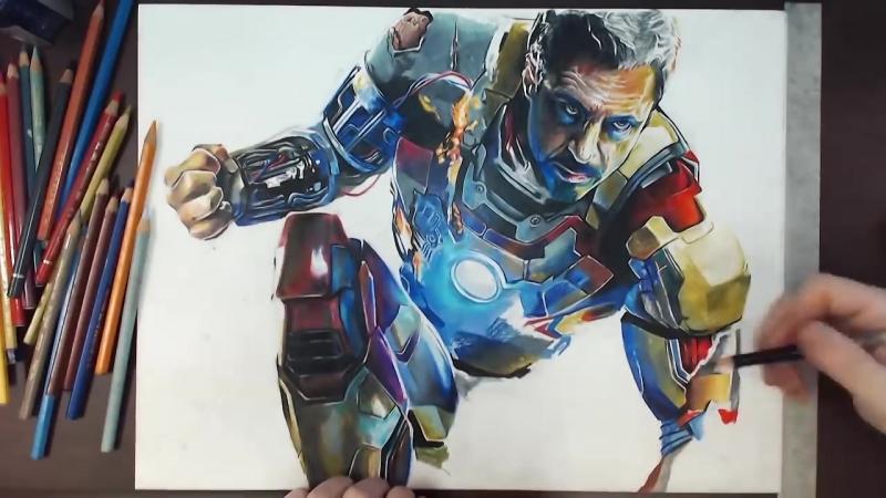 Iron Man (Robert Downey Jr.) - Colored Pencil Drawing _ drawholic