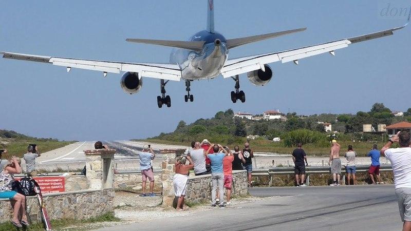 Skiathos Airport. - Starts, Landings, Aircraft Blast.