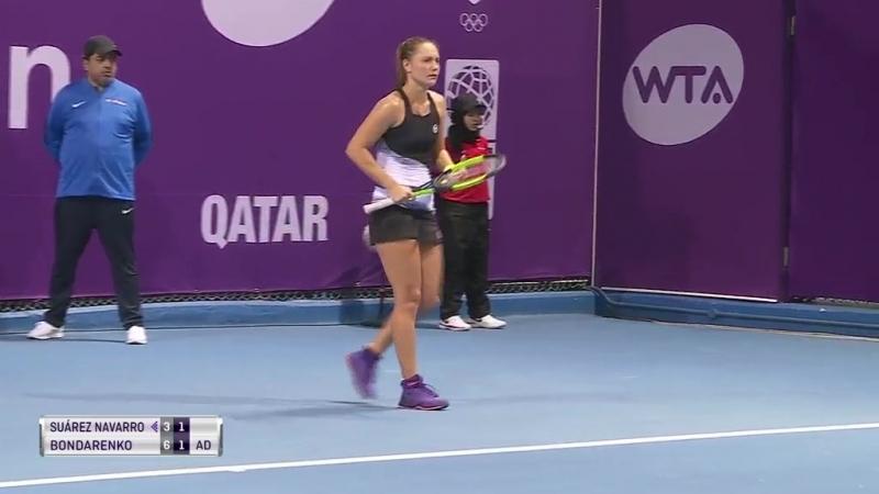WTA Doha R1 2018 Suarez Navarro vs Bondarenko