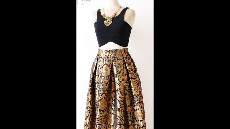 Box Pleated Brocade Long Skirt With Full Flare (DIY)