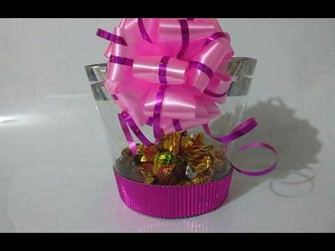 Caja para regalo con botella reciclada MDulceCreación