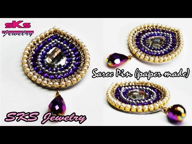 How to make Saree pin / Brooch   Made out of paper   DIY   Swapna's Creation 17