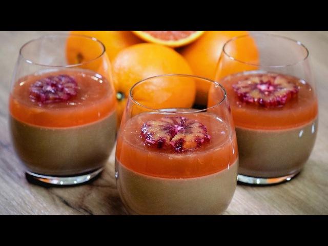 Шоколадная панна котта с апельсиновым желе