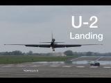 Most difficult airplane to land ! U2 spy plane impressive soft landing and chased by powerful car