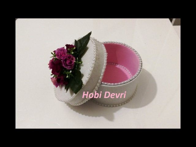 DIY Recycled Tin Can Craft -Teneke Kutudan Takı Kutusu Yapımı, Kendin Yap, Tesbih Kutusu