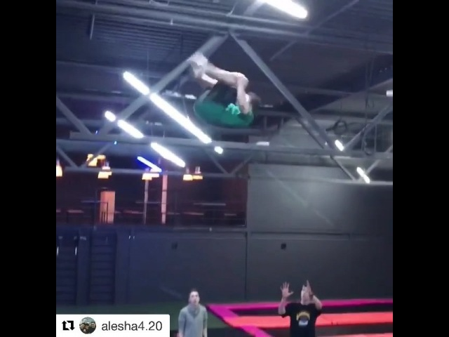 "Max Air Trampolines on Instagram: ""Absolute insanity from @alesha4.20 😨😨Can anyone beat x3?? reachyourMAX . . . @@ Tag someone who can do this..."