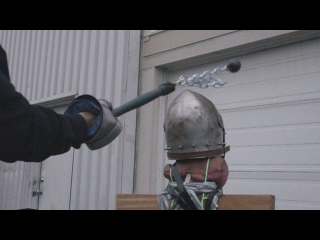 Helmet tests, part 5 - Bascinet vs. axe, mace, hammer, flail (plus poleaxe fail)