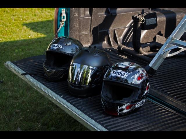HJC A-12 Carbon, Shoei X11, and Arai Corsair V Helmet Drop Test