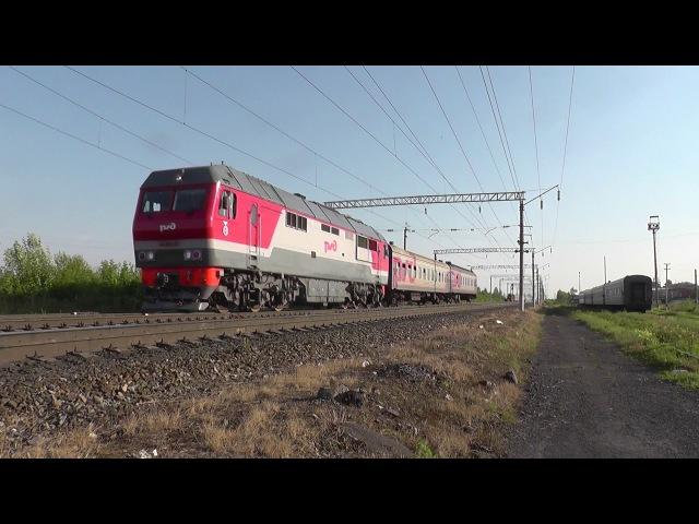 Тепловоз ТЭП70БС с пригородным поездом Алнаши - Ижевск
