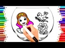 TEACH CHILDREN DRAW CINDERELLA - BIRD - FLOWER COLORING BOOK PAGES KIDS LEARN ENGLISH COLORS169