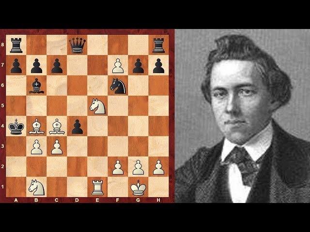 Шахматы. Пол Морфи: жертва ферзя и мат пешкой в партии с форой