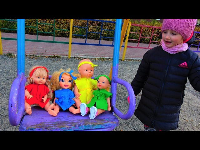 Baby Born Dolls funny Baby Playing on the Playground Nursery Rhymes for kids