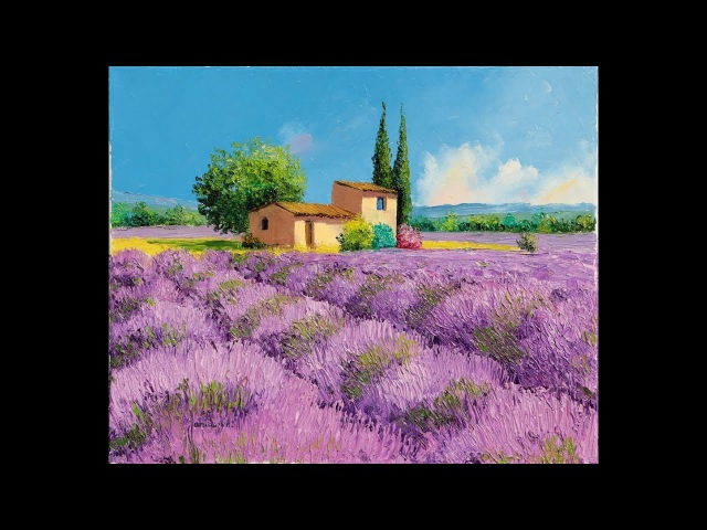 How to paint a lavender field, with oil colors and palette knives in time lapse by JANIACZYK.