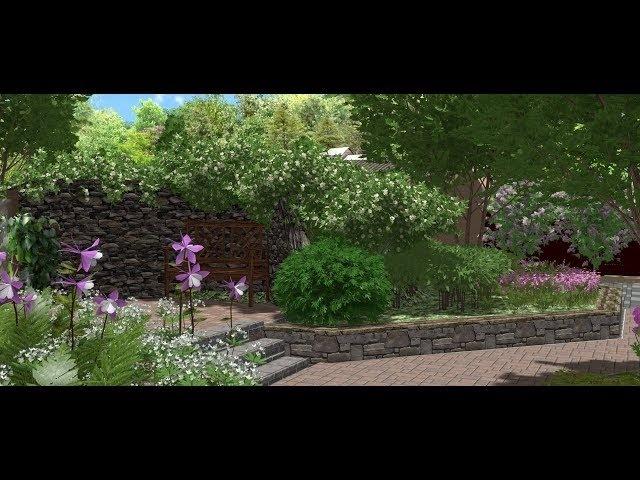 Ландшафтный дизайн проекта частного загородного участка. Видео визуализация 3d