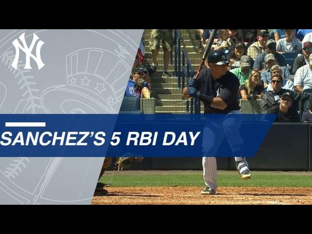Gary Sanchez's Three Run Home Run Plates Aaron Judge and Giancarlo Stanton