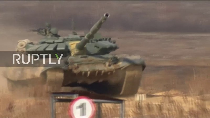 Russia: Tanks compete at regional military biathlon competition in Ussuriysk