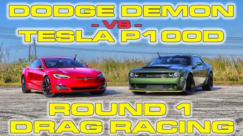 Dodge Demon Melts its Tires vs Tesla Model S P100D Ludicrous Drag Racing 1/4 Mile