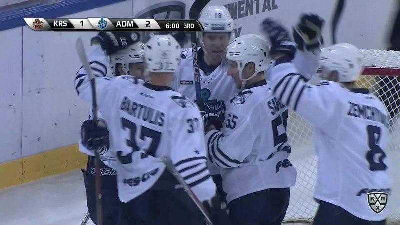 Моменты из матчей КХЛ сезона 17/18 • Гол. 1:3. Райт Джеймс (Адмирал) закатился в ворота вместе с шайбой 29.12