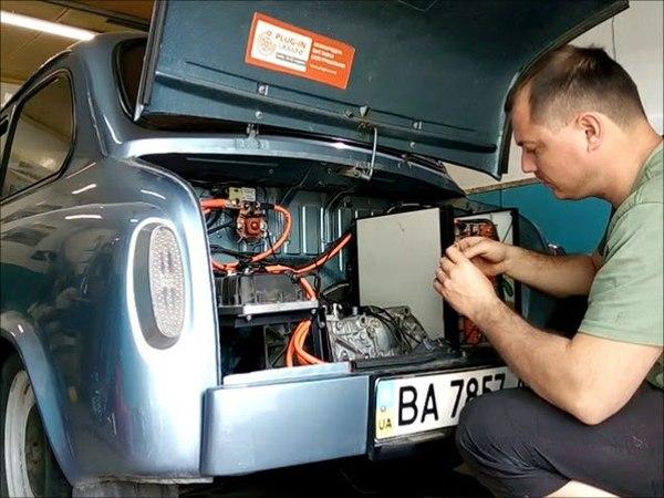 Мотор Nissan Leaf в ЗАЗ 965 (горбатый запорожец электрокар)