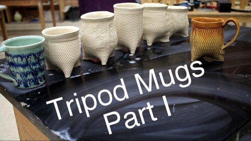 Frost porcelain Soft slab Tripod Mugs Part 1 Pottery 1